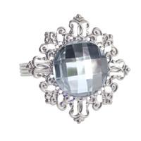 piedras de acrílico diamante al por mayor-Servilleta de tono plateado Banquete de boda 48 piezas Anillos de servilleta de piedra acrílica de diamante Mesa de cena nupcial Favor de suministro wang