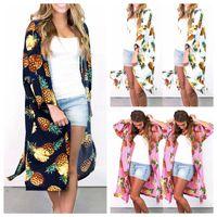 casacos de verão longos mulheres venda por atacado-Mulheres Floral Suntan Cardigan Brasão Summer Beach abacaxi Casual blusa Impresso Longo Cape Bikini Cover-Ups solto Kimono Beachwear LJJ-AA2450