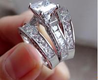 ingrosso anelli d'argento tagliati diamanti-Lady's 925 Sterling Silver Princess-cut Diamante Simulato CZ Paved Stone 2 Wedding Band Ring Set Gioielli per le donne Taglia 6 - 11