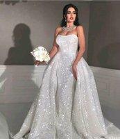 plus pailletten hochzeitskleid großhandel-Glitter Nixeart arabische Brautkleider mit abnehmbarem Zug trägerloser Schatz Voll Pailletten Plus Size Overskirt Land Brautkleid