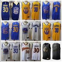 camisetas de baloncesto juvenil al por mayor-2019 Hombres Jóvenes nuevo estilo Curry 30 11 Thompson Bule y amarillo bordado alero jerseys del baloncesto
