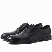siyah platform oxfords toptan satış-SICAK Büyük ABD boyutu 6,5-13 adam elbise ayakkabı Düz Ayakkabı Lüks Erkek İş Oxfords Casual Ayakkabı Siyah Kahverengi Deri Derby ayakkabı