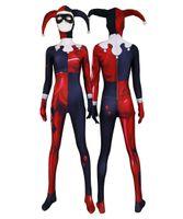 niños disfraces de superhéroes niñas al por mayor-Mujeres adultas niños Red Jester Chica Harley Quinn Cosplay Mono de Halloween Anime Moive traje de superhéroe Zentai mono traje de mono