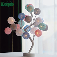 Wholesale battery operated table lamps resale online - Creative LED Cotton Ball Lamp Tree Shape Table Light USB Battery operated Romantic Decoration Lamp for Desktop Wedding Party