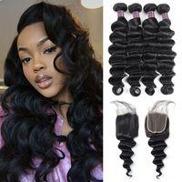 Wholesale brazilian human hair prices online - Peruvian Hair Deep Loose Bundles with x4 Lace Closure Loose Deep Virgin Human Hair Weave Extensions Human Hair Bundles Price