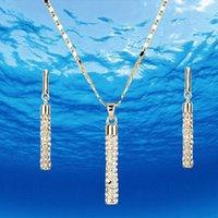 şık damla kolye toptan satış-Zarif Temizle Stellux Avusturyalı Kristaller Kaplamalı Bırak Küpe ve Kolye Kolye Takı Seti Altın Gümüş Toptan Nişan Takı Hediyeler