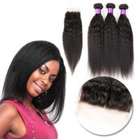 cheveux vierges peuvent blanchir achat en gros de-Les cheveux humains vierges malaisiens Yaki Kinky droits non transformés tissent des cheveux doubles tricots 100g Bundle 1bundle lot peut être teint blanchi