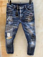 nuevo diseño de botones al por mayor-2019 Nuevo Diseño hombres del verano dril de algodón flaco Jean motorista del bordado pantalones vaqueros agujeros de botón de los pantalones largos para hombre T89-1
