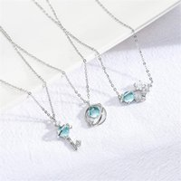 Wholesale toy planets for sale - Group buy Girl blue glass planet necklace fantasy starry sky INS style student clavicle chain necklace