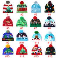 kardan adam yılbaşı şapkaları toptan satış-Kabak kardan Festivali parti dekor hediye sahne için 16 Led Cadılar Bayramı Noel Örgü Şapka Çocuk Bebek Anneler Kış Sıcak Beanies Crochet Caps