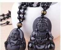 Wholesale men's necklaces online - Natural Obsidian Guanyin Buddha Pendant Men s Wear Guanyin Women s Dai Buddha Couple Necklace National Wind Wholesalev