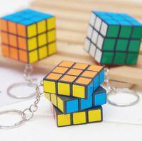 Wholesale keychain cube for sale - Group buy Rubik s cube key chain women men car key ring creative square keychain kids girl pendant keyring
