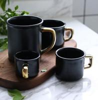 siyah seramik kahve kupaları toptan satış-Seramik Bardak Bardak Mat Kahve Bira Kupalar Süt Mate Siyah Su Içme Bardağı Çocuklar Su Şişeleri 80 ml 150 ml 250 ml 400 ml GGA2317