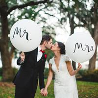 ingrosso prop nozze per la stampa-Palloncini rotondi in lattice da sposa da 36 pollici Palloncini da sposa Sposo Fotografia Puntelli stampati Personaggio Mr Mrs White Balloons Decorazione per matrimoni