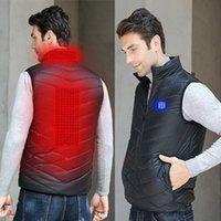 erkekler giyim xxl toptan satış-Hafif USB Isıtmalı yelek erkekler Kadınlar Kış Isıtma Ceket Termal Giyim Açık Akıllı Isıtma Büyük Beden Coat Balıkçılık Yelek