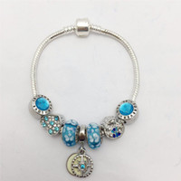 knochen-stil kette großhandel-Neuer Stil See blaue Blume Glas Ball Serie Damen Snake Bone Chain