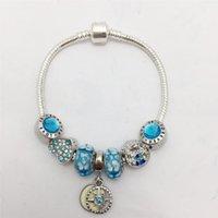cadena de estilo de hueso al por mayor-Nuevo estilo Lake Blue Flower Glass Ball Series Snake Bone Chain para mujer