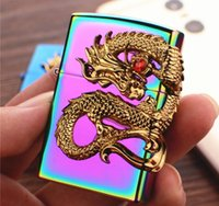 Wholesale dragon electronics resale online - Newest Beautiful Dragon Metal USB Double Arc Rechargeable Electronic Lighter Cigarette Turbo Smoking Cigar Windproof Lighters