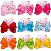 Wholesale inch solid boutique hair bows resale online - 8 inch JOJO SIWA Colorful diamond Big Bow Hairpin Baby Girls cartoon Gradient Barrettes Kids Boutique Hair Clip Hair Accessories C6885