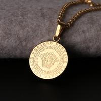 ожерелье хип-хоп титановая сталь оптовых-Золото хип-хоп титана стали ожерелье богиня соизволил мужчины популярное ожерелье люди голова кулон небольшой бутик титана ожерелье