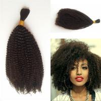 trenzado de cabello mezclado al por mayor-4b 4c bulto del pelo humano para el trenzado afro peruana a granel rizado rizado de cabello Extensiones No Implementos FDSHINE