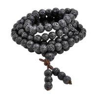 тибетский бисера ожерелье оптовых-Горячий шарик браслеты 6 мм 8 мм природный Лава рок камень исцеление камень 108 буддийский молитва бусины Тибетский мала браслет ожерелье