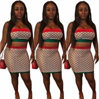 vestido de lã de pista venda por atacado-YT3113 high-end quente explosões europeus e americanos das mulheres vermelho e verde tubo top de duas peças terno saia moda mulheres