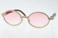 diamante ovalado de la vendimia al por mayor-Buena calidad de envío gratis gafas 18K oro Vintage madera 7550178 gafas de sol redondas Vintage Unisex diseñador de gama alta gafas de diamante 2019 caliente