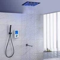 lcd ekran sistemi toptan satış-Termostat 16 inç LED Tavan Duş Sistemi LCD Dokunmatik Ekran Dijital Ekran Işık Dönen Alt Musluk ile Siyah Büyük Duş Seti