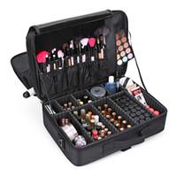 büyük profesyonel kozmetik çantası toptan satış-Profesyonel Makyaj Çantası Kadınlar Kozmetik Çanta Seyahat Kozmetik Organizer Kutu Büyük Taşınabilir Fermuar Çanta Güzellik Tasarımcı