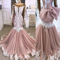Wholesale long skirts big bows for sale - Group buy 2020 Blush Pink Pastels Long Sleeves Mermaid Wedding Dresses Castle Scoop White Lace Applique Bridal Party Gowns With Big Bow