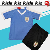 Wholesale soccer jerseys team kits for sale - Group buy Kids Kit Uruguay soccer Jersey home New season national football team Child uniforms Customized shirt with shorts