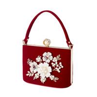 sac de soirée embrayage rouge perle achat en gros de-Dames Embrayage Perle Cristal Sacs De Soirée Sac À Main Pour Femmes Parti Mariage Nuptiale De Luxe Mini Jour Bourse (Rouge)