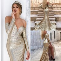 Wholesale nude art pictures for sale - Group buy Plus Size Gold Off The Shoulder Sequins Split Mermaid Long Prom Dresses Long Sleeves Split Sweep Train Formal Party Evening Gowns BC0751