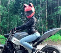 NITRINOS Brand motorcycle helmet full face with cat ears four season pink color