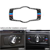 mor karbon fiber sarar toptan satış-İç Düğmeler Karbon Fiber Far Kapağı Trim Styling Araba Çıkartmaları BMW E90 E92 E93 2008-2012 Için 3 Serisi Aksesuarları