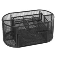 ingrosso il contenitore rete scatola-9 Storage Multi-funzionale Desk Organizer Mesh Metal Pen Holder Contenitore di cancelleria Box Office Materiale scolastico Caddy Black