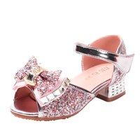 topuk ayakkabıları kız çocukları toptan satış-Kız yazlık sandaletler Çocuk içi boş payetli prenses ayakkabıları Çocuklar öğrenci dans Yüksek topuklar Parti Sandalet