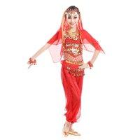 trajes de dança de ouro meninas venda por atacado-Traje de Dança do ventre Crianças Cinto De Moeda De Ouro Roupas India para Meninas Desempenho Vestido Crianças Dança de Salão Bollywood Egípcio