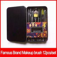 Wholesale black eyeshadow powder resale online - 12pcs Makeup Brushes Set Professional Fan Powder Foundation make up Brush Blush Blending Eyeshadow Lip Cosmetic Eye Make Up Brushes Kit Tool