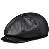 ingrosso cappelli invernali delle donne coreane-RY993 New Unisex Winter Pumpkin nero in vera pelle cappello donna uomo aderente coreano Steet Cowboy Casquette Fashion Newsboy Caps