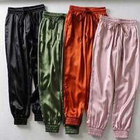 Wholesale legging pockets for sale - Group buy Female Summer Satin Cargo Pants Women Europe Loose Casual Sport Women Joggers Streetwear Cargo Pants Women