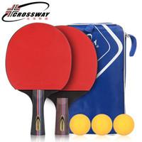 mejor tenis de mesa de goma al por mayor-La mejor calidad Raqueta de tenis de mesa con goma Pingpong Paddle + Balls Short Handle Tennis Table Racket Mango largo ofensivo
