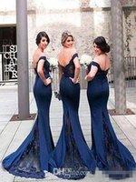 mädchen vintage brautjungfer kleider großhandel-Marineblau 2019 Meerjungfrau Brautjungfer Kleider aus der Schulter Plus Size Hochzeitsgast Kleid Vintage Lace schwarz Mädchen Günstige formale Prom Kleider