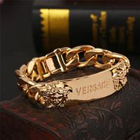 marcas de braceletes de homens famosos venda por atacado-Famosa marca R pulseiras masculinas Com alta qualidade de Aço Inoxidável Iced out pulseira Designer de luxo bracciali para as mulheres Transporte da gota