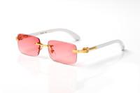 Rimless Wooden Eyeglasses Rectangular Optical Glasses Pink Mirrors Clear Lens White Eyeware With Box Brand France Design Optical Sunglasses