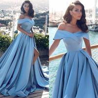 off ombro azul claro vestido de noite venda por atacado-2019 Moderna Luz Azul Formal Vestidos de Baile Vestidos De Novia Fora Dos Ombros Frente Dividir Popular Evening Prom Vestidos
