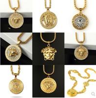 chaînes de lion d'hommes achat en gros de-tête de lion pendentifs colliers Bling Bling glacé Cubain lien chaîne Hiphop collier hommes bijoux cadeau