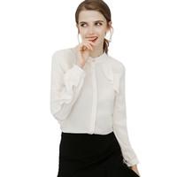 blouse blanche à ressort achat en gros de-Mesdames Bureau Blouses Blanc À Manches Longues Vintage Volants Femmes Hauts Printemps Été Élégant Plus La Taille Chemise Femmes Vêtements de Travail Blusas