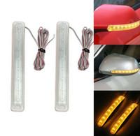 luz led para carro espelho venda por atacado-2x 12V LED Car Vire Indicador Espelho sinal de luz Auto Retrovisor Lamp Bumper Faixa piscando Universal Yellow Light Source KKA6505